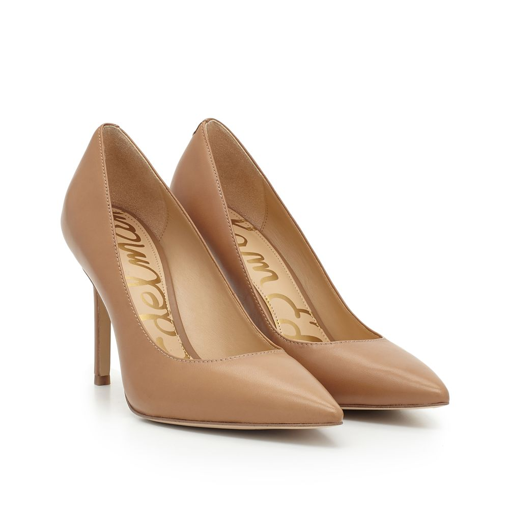 Tan Court Shoes Mid Heel