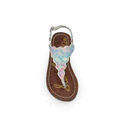 25442e1d58e1df Girls Greta Scallop Sandal by Sam Edelman - Silver Rainbow