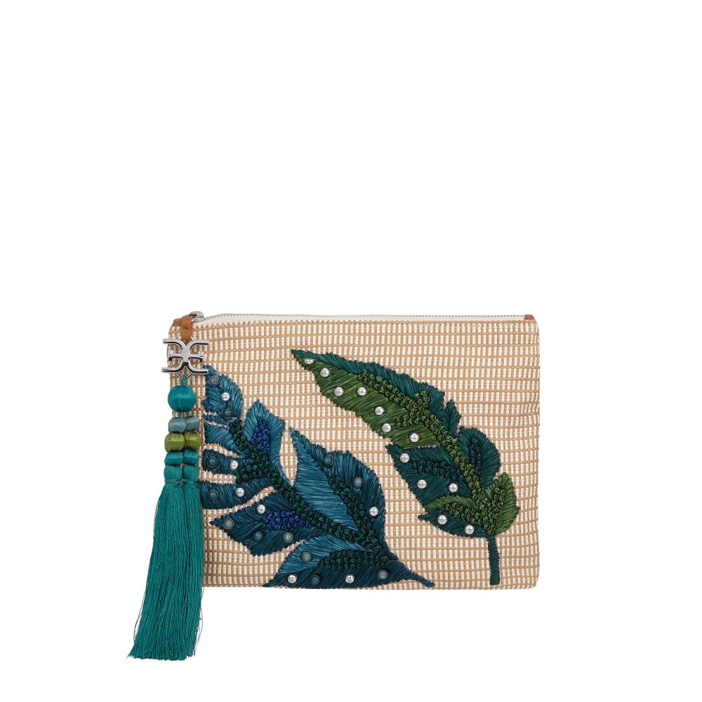 Sheila Embellished Pouch by Sam Edelman - Natural/Green Leaf